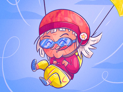 Parachute raster procreate helmet woman lady extreme sports medicare insurance daredevil parachute funny granny grandma character design cartoon drawing character vector illustration