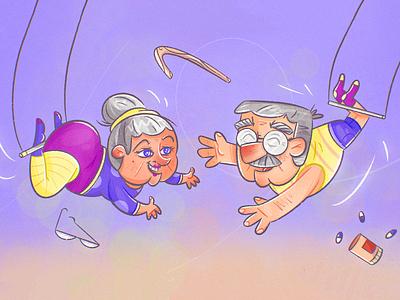 Flying Trapeze performance grandpa grandma acrobat trapeze circus medigap medicare retirement insurance cartoon character design procreate man woman texture drawing character vector illustration