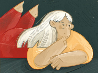 Thinking contrast texture drawing face thought expression pose hair body cartoon cute character design character woman girl worry emotion thinking procreate illustration