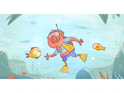 Scuba Diver shell underwater water sports cartoon character design swim swimming diver diving scuba ocean fish medigap medicare texture drawing character vector illustration