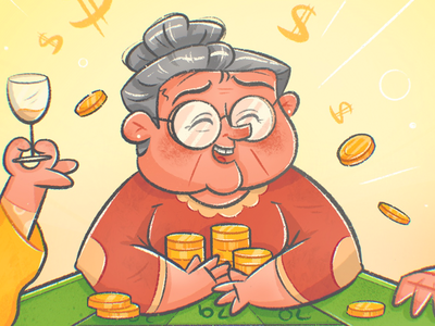 Granny Takes All! insurance luck winning game roulette grandpa granny old woman old man cartoon happy casino medigap medicare character design texture drawing character vector illustration