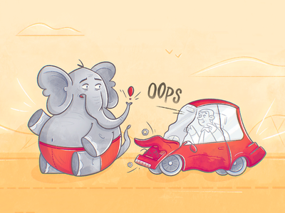 Oops! funny caricature character design cartoon insurance car crash accident driver driving car elephant procreate texture drawing character illustration
