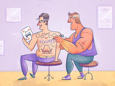 I <3 Cars cartoon character design studio guys men man guy tat tattoo insured insurance driving car texture drawing character vector illustration