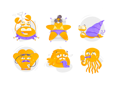 Sweaty Summer Stickers ocean adult fun crab octopus fish starfish summer icon set set stickers icon cartoon character design sticker texture drawing character vector illustration