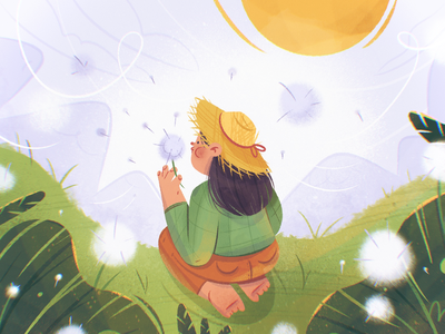 Dandelion grass sky sun woman dandelion hat perspective mountain cute nature flower girl character design procreate drawing character illustration