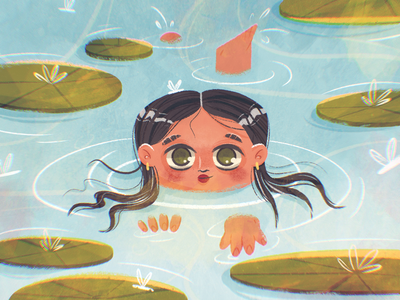 Take a dip nature girl woman lilly lake water swimming swim character design procreate drawing character illustration