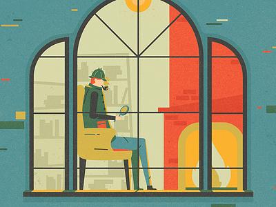 Sherlock mystery clue window pipe illustration character book detective fireplace holmes sherlock