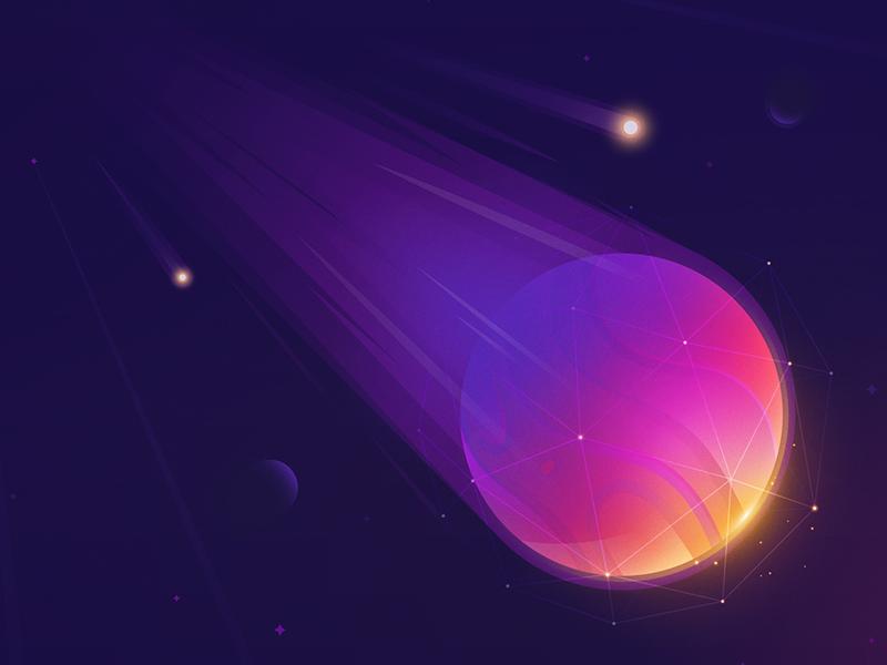 Dio universe space star asteroid comet planet polygon cosmos ux ui illustration vector