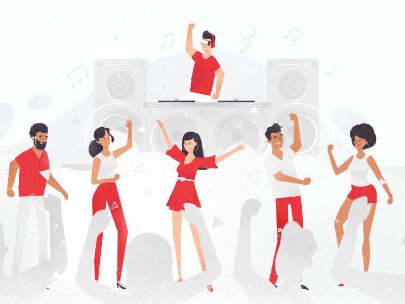 Party vr concert fun dj crowd party texture ux ui character illustration vector