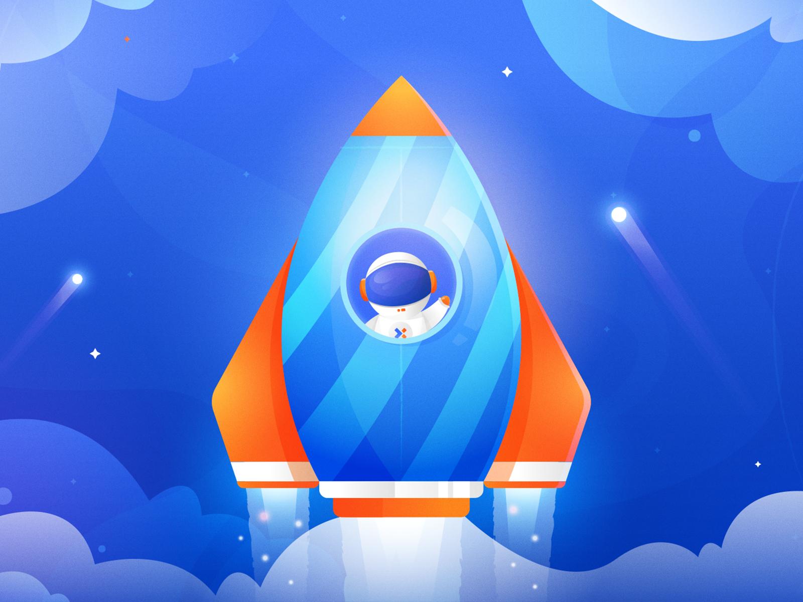 Astronaut spaceship rocket character galaxy planet glow space astronaut ux ui illustration vector