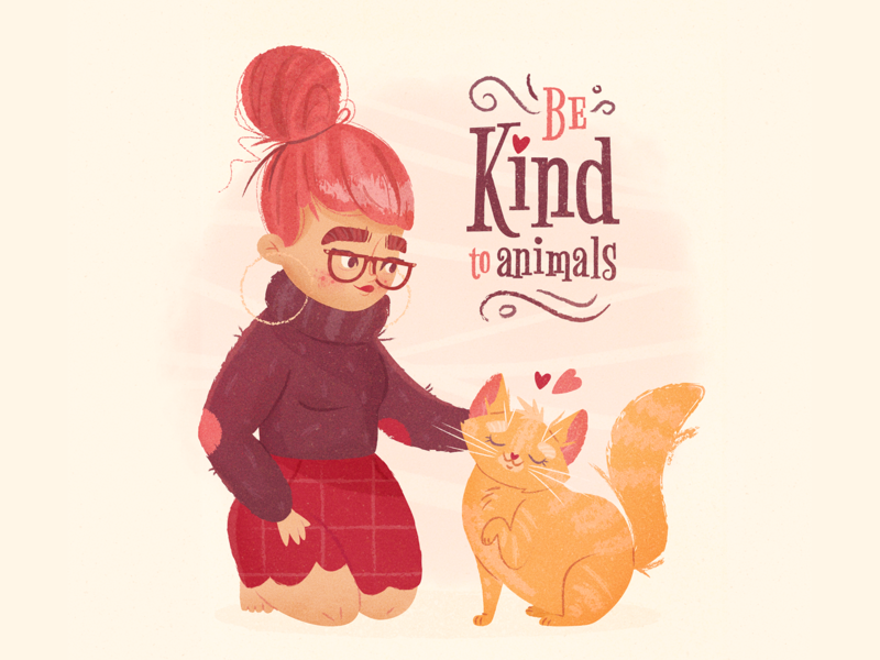 Be Kind to Animals animal friend pets pet glasses texture girl illustration hearts heart typography friendship kindness kind love kitten cat girl character illustration vector