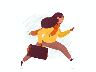 Wanderlust wanderlust happy jumping running hair jumper sweater scarf autumn winter suitcase travelling travel girl character girl woman flat character drawing illustration