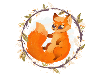 Foxy foliage forrest pet lovely friend flowers flower nature fluffy winter autumn love friendly cute character animal character animal fox photoshop illustration