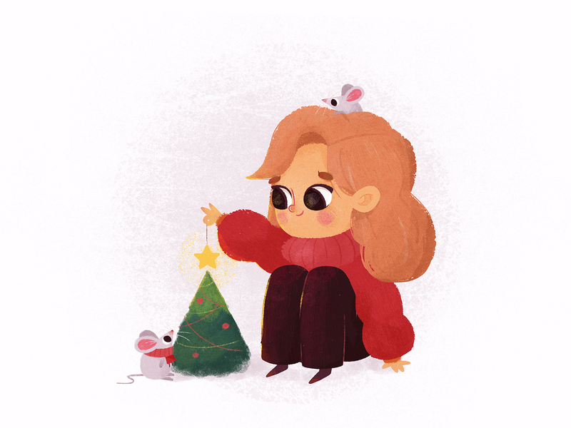 Christmas Tree christmas holidays holiday celebration celebrate new year eve new year cute animals animal pets pet mouse winter character woman girl sketch illustration drawing