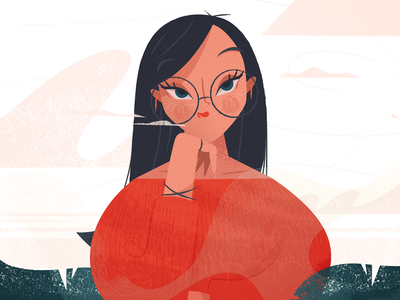 Daydream sky clouds detail character design dreaming dream expression glasses hair ux nature ui woman girl texture flat character drawing illustration vector