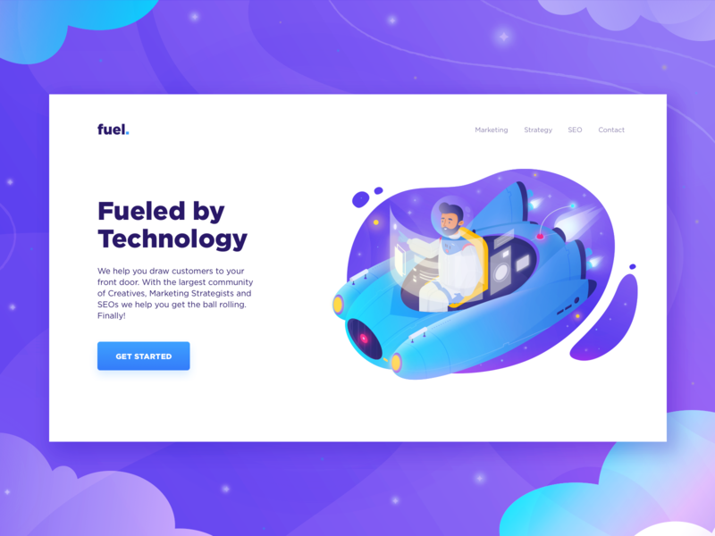 Project Fuel. gradient technology marketing landing fly character ux ui interface app illustration web dashboard data web design dtailstudio clean ux design concept website analytics download