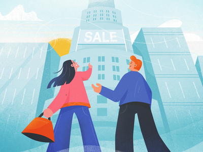 On the lookout perspective motiongraphics character design real estate shopping browsing apartment home family couple guy man flat girl woman texture character drawing vector illustration
