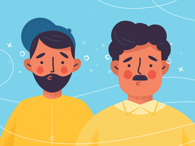 Worried Guys emotion expressions worried expression face outfit beard moustache character design motiongraphics motion graphics motion graphic man guy texture flat character drawing vector illustration