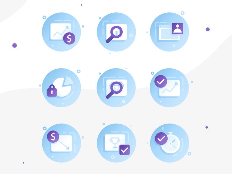 Holini: Marketing Icons business google ads data marketing icon design icon web  design web app branding ux ui flat vector illustration