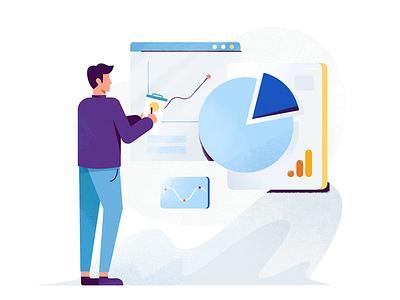 Holini: Analytics Audits data analysis spot illustration web design business marketing google data audit chart product illustration web  design man ux ui flat texture character drawing vector illustration
