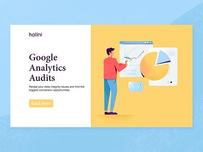Google Analytics Audits statistics pie chart chart corporate conversion data marketing analytics google mockup presentation man ux ui texture flat character vector illustration