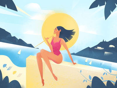 Sun's out mountain boat holiday party seaside sea beach sunshine sun summer editorial nature girl woman texture flat drawing character vector illustration