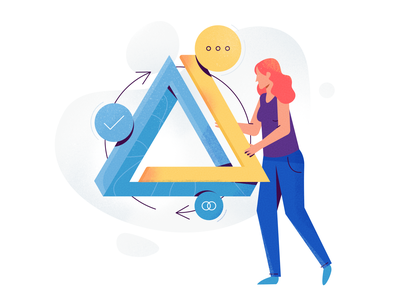 Process spot illustration icon team agency process data facebook ads google ads google marketing ux ui girl woman texture flat drawing character vector illustration
