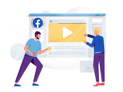 Facebook Ads face data teamwork team spot illustration interface facebook ads facebook ads marketing man icon ux ui texture flat drawing character vector illustration