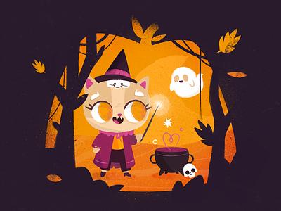 Halloween Mood skull potion magic autumn pumpkin creepy spooky ghost halloween witch wizard kitten cat nature texture flat drawing character vector illustration