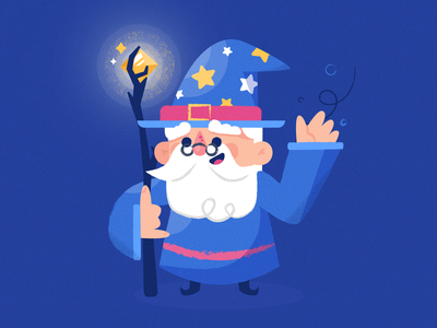 Friendly Wizard diamond staff wisdom wise funny star beard dude man startup technology tech characterdesign magician magic wizard texture character vector illustration