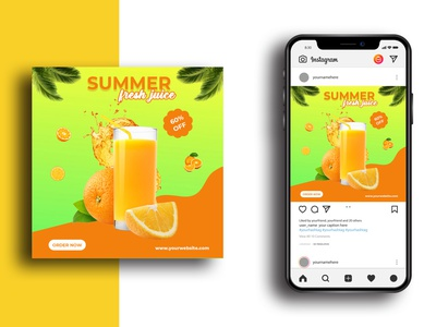 Social Media Post Template template psd ads sale clean poster instagram post banner design advertising juice orange juice drink media social media design instagram discount marketing advertisement advert