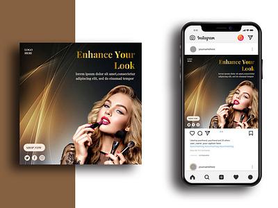 Social Media Post Template clean golden banner design banner beauty parlour beauty makeup fashion ads social media design psd media instagram post instagram marketing advertisement advert
