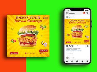 Social Media Post Template fast food food kitchen social ai clean hot burger restaurant menu hamburger burger advertising ads social media instagram design media marketing advertisement advert