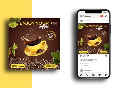 Social Media Post Template template discount coffee mug coffee cup banner design cafe restaurant instagram post banner hot coffee coffee social media instagram design psd media marketing advertisement advert ads