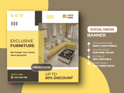 Social media Post Template template exclusive modern banner design banner ads promotion promo offer discount sofa furniture social media instagram design psd media marketing advertisement advert