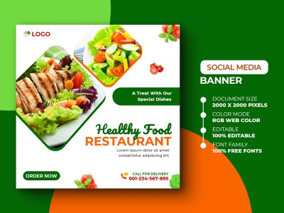 Social Media Post Template promo promote menu salad social media post banner design banner chicken salad vegetables salad advertising ads restaurant food social media design psd media marketing advertisement advert