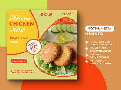 Social Media Post Template template banner advertising poster yummy yummy delicious restaurant kebab food instagram poster design banner design psd social media design media marketing advertisement advert ads