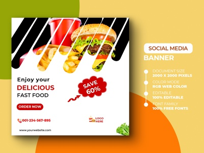 Food Social media Post Template template pizza burger poster yummy yummy delicious fast food instagram post instagram banner design banner ads social media media design psd marketing advertisement advert