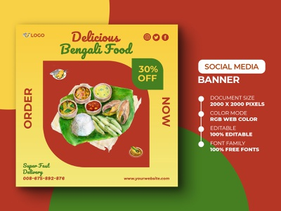 Food Social Media Post Template ads instagram post instagram design social media post yummy yummy delicious hilsha fish bengali food poster desugn poster banner fresh clean psd marketing advertisement advert social media media