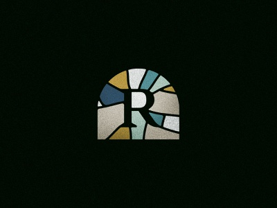 Glass R exploration logo branding art glass teal gold color retro religion church stained glass stained