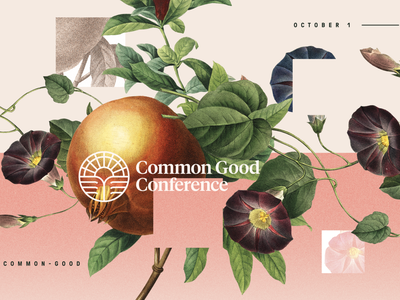 Common Good Conference - Illustrations design logo complete incomplete noise grain natural nature remote live conference christian flourishing flourish made good common floral vintage illustration