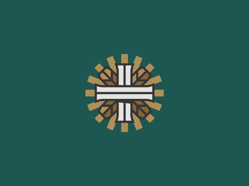 The Commonweal Project process mark seal branding logo christian church gospel flourishing faith work labor green wheel project vector design gold icon futura