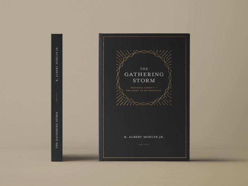 The Gathering Storm thorns clean letterpress paperback booklet thunder shine crown storm white black hardback cover editorial book typography gold illustration vector design