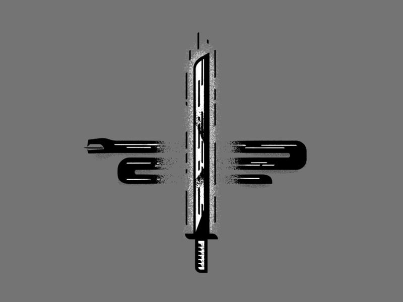 His Sword will Slay the Serpent cut bible grain easter lineart christian illustration vector design grayscale cobra viper venom knife kill snake sword