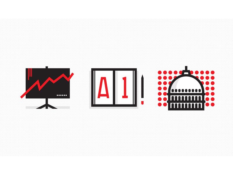 Business, Education & Politics white black red pencil infographic slide book washington capitol politics education flat app ux ui icon vector design illustration