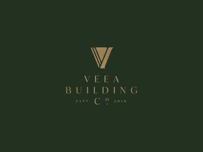 Veea Building Co. mark symbol fancy english green gold estd co. architecture high end hotel branding logo vintage v construction