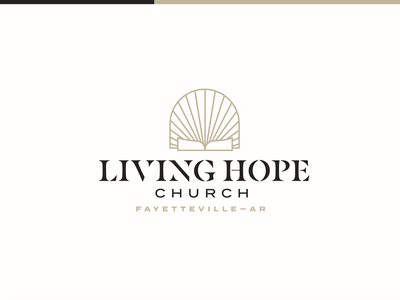 Living Hope Church Branding portal stained glass icon christian scripture stencil gold shine bible word logo branding hope living church ar arkansas