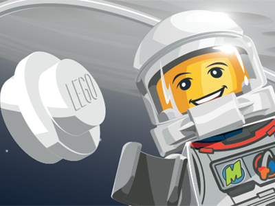 Lego space scene vector max brick space shuttle lego