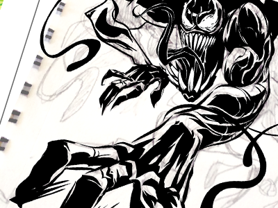 Venom climbs ink spiderman spider-man venom