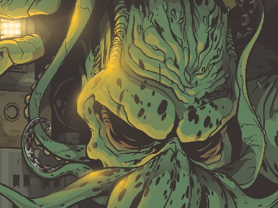 Cthulhu in Down City building superman hp lovecraft pvd providence